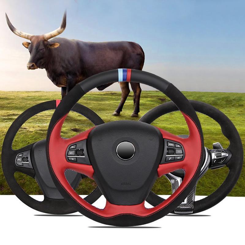 Кожа + крышка рулевого колеса из углеродного волокна для BMW X1 / X5 / X6 / 2/3/5 Специальная ручная ручная рулевая рулевая рулевая рулевая рука