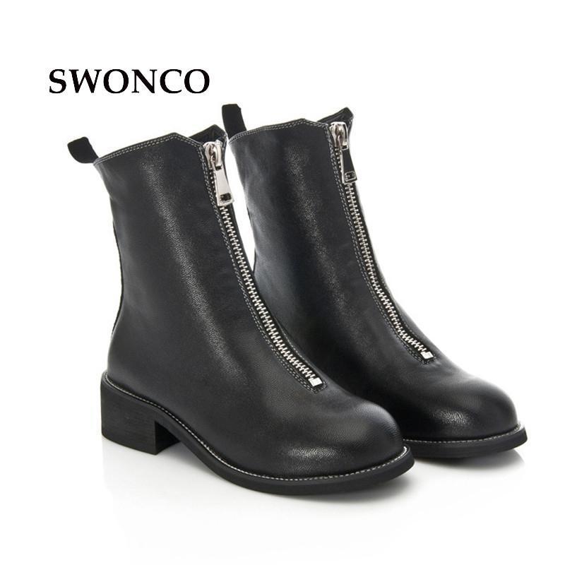 SWONCO Женские ботильоны на лодыжках 2020 осень зима натуральные кожаные женские ботинки ботильоны для женщин черный нижний каблук