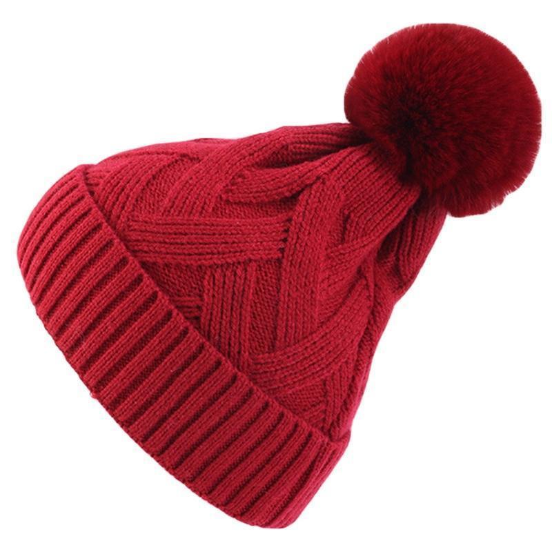 Женщины зимний крест полосатый вязаный крючком вязаная шапка шляпа сплошной цвет милый POM POM мяч, растягивающаяся снежная лыжная капюрная крышка черепа