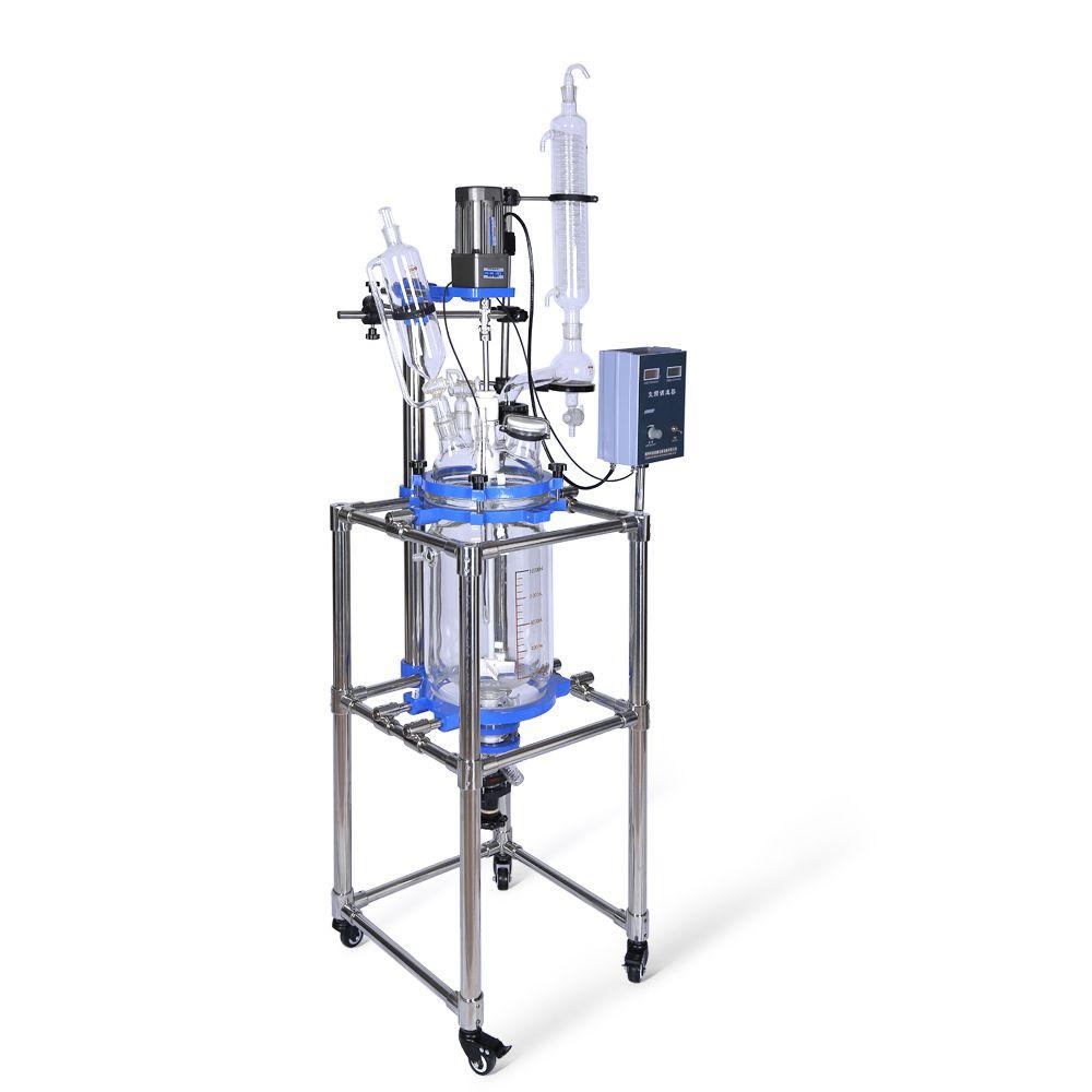 O laboratório de ZZKD 10L fornece o condensador do reator de vidro com selo de agitação do frasco de queda para a reação química
