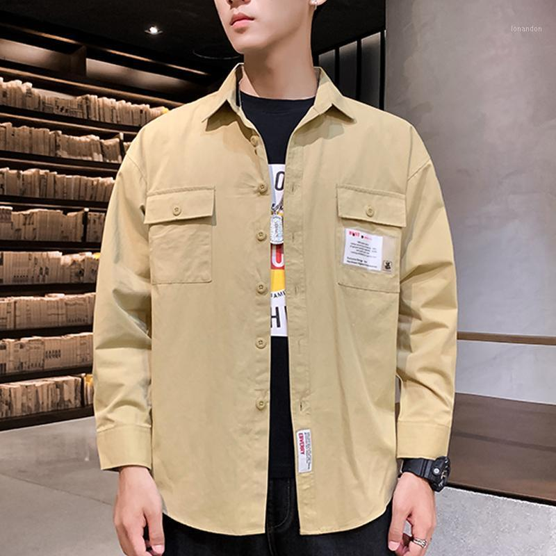 Brin Wolf New Arrival Spring Brand shirts Men Long Sleeve Cargo Shirt Casual Loose Fashion Double Pocket Mens Dress Shirt1