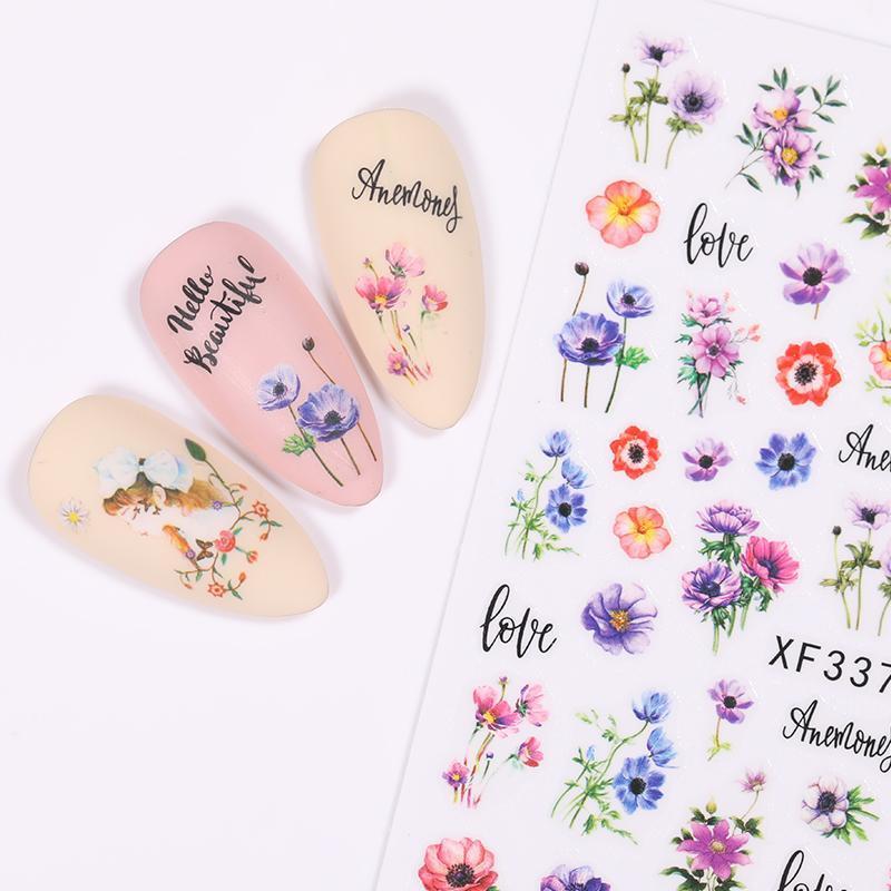 1 Pcs 3D Nail Art Sticker Autocollants Pour ongles Manucures fleur adhésif bricolage Sliders Holo Conseils Décorations Autocollants sexy femme