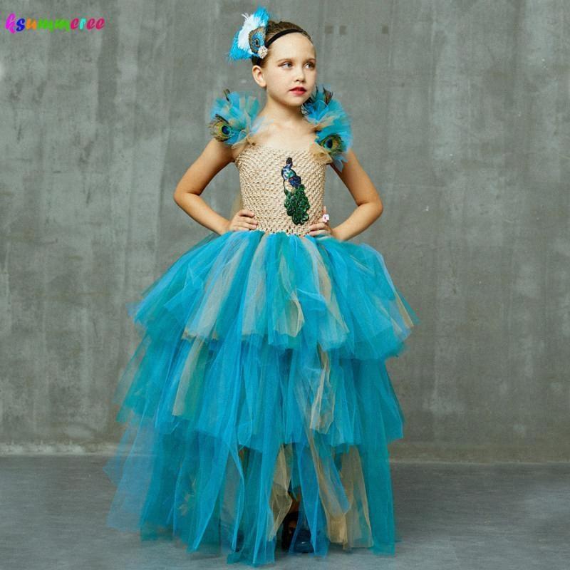Edição limitada meninas de luxo pavão tutu vestido com faixa de correspondência multi-camada crianças concurso de bola de tule tule pavão traje Q3Q1 #
