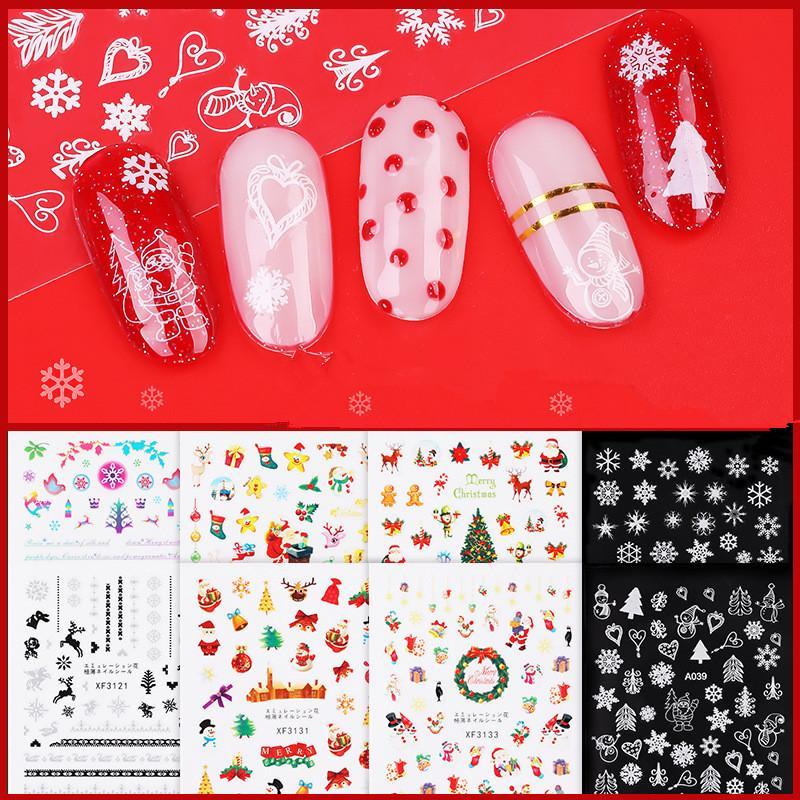 Tırnak İpuçları Tasarım F650 için Noel Nail Art Çıkartmaları Dekorasyon Kendinden yapışkanlı Nail Art Etiketler Manikür Çıkartma