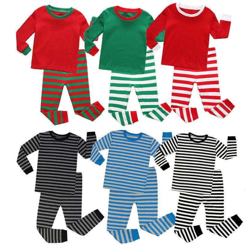 Miúdos listrados pijamas conjunto meninos meninas roupas de natal duas peças roupas crianças blusa de xmas blusa pulôver e calças casuais esporte pano e92801