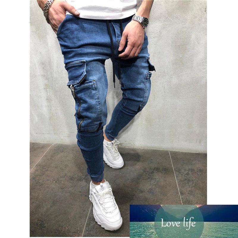 Мужская ткань джинсовой ткани вскользь боковой карманный трексуит ногой ногой джинсы смягчает комфортабельные джинсы