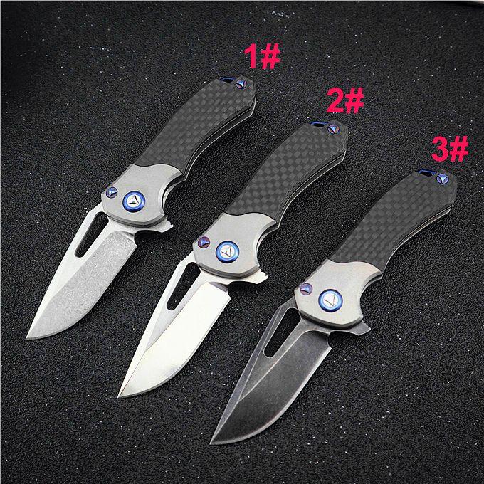 Small Flipper Folding Knife M390 Satin / Stone Wash Blade Carbon Fiber + TC4 Titanium Alloy Handle Ball Bearing EDC Knives