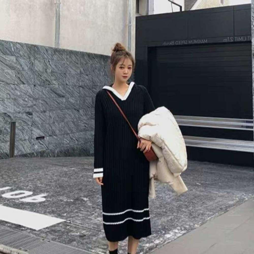 Vestido minoritario súper francés Mujeres otoño e invierno estilo de yamamoto extranjero estilo de hada de la rodilla larga falda de punto