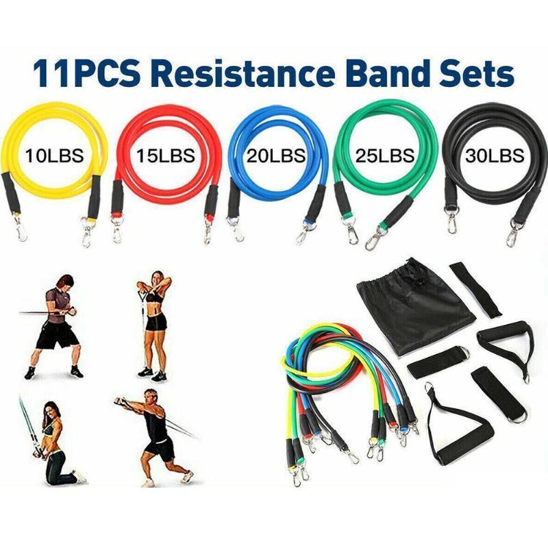 العصابات 11PCS / مجموعة المقاومة مطاط الكاحل الأشرطة مع اليوغا المطاط الفرقة ممارسة كيت حقيبة أنبوب للياقة البدنية فرق حلقة J3O5