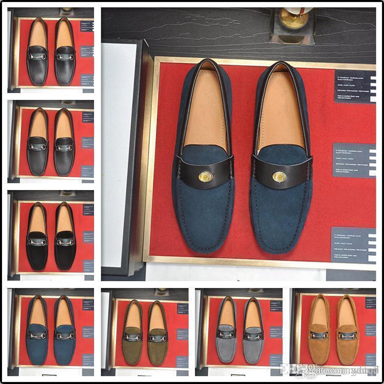 C5 PU de cuero Mocasines de cuero Patrón de cocodrilo Hombres Zapatos casuales Mocasín transpirables Marcas de lujo Zapatos de conducción Hombres más Tamaño 38 ~ 46 33