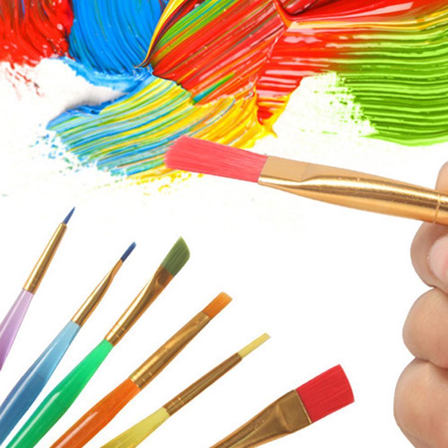 الجملة 6 العصي شفاف DIY الأطفال فرشاة الألوان المائية ورود ملونة لوحة فرشاة دائم للأطفال لينة فرشاة رسم القلم DH1200 T03