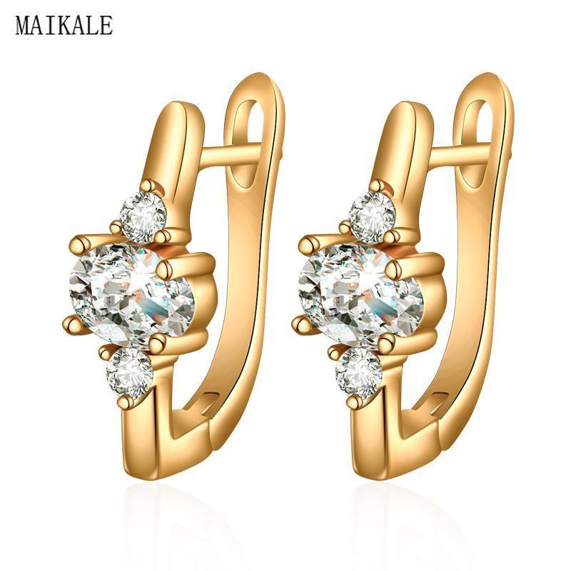 Шпилька Maikale простой шарм из бисера циркона для женщин золотой кубический цирконий моды корейских ювелирных украшений подарки