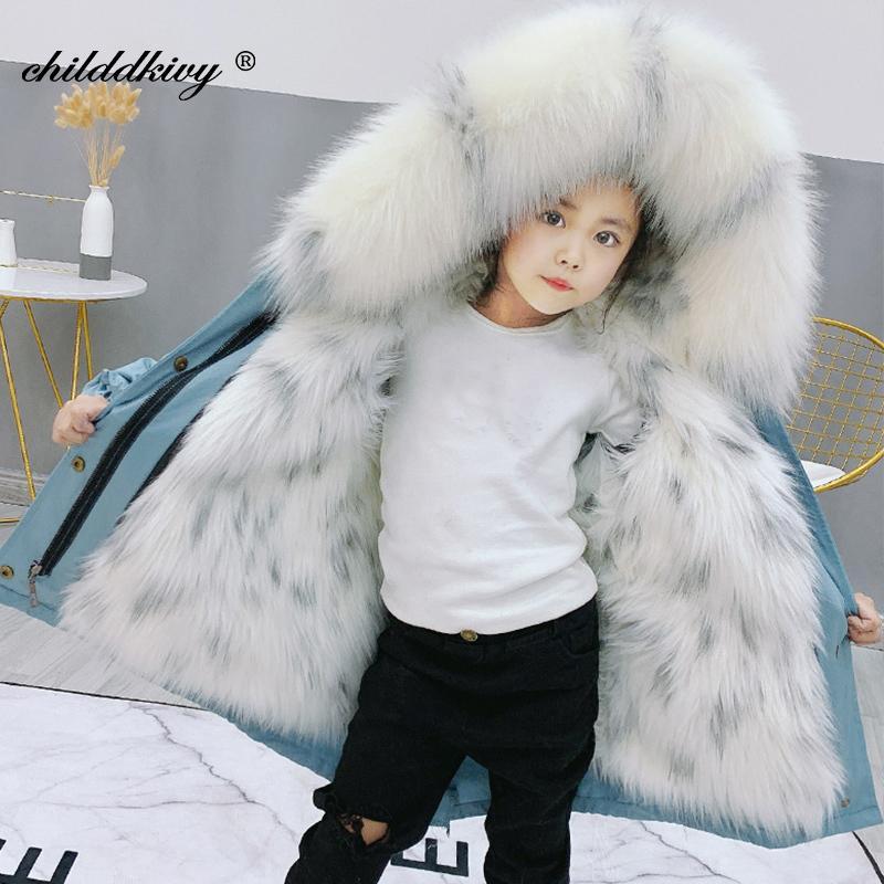 Детская парка для девочек зима густые девушки из искусственного шуба детская мода пальто для девушки одежда детская куртка для девочек детская куртка 201127