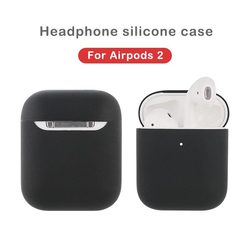 Caja de silicona de color sólido para aeroplas 1/2 Linda cubierta de auriculares protectores para Apple AirPods 2 Caja de carga inalámbrica Caja a prueba de golpes