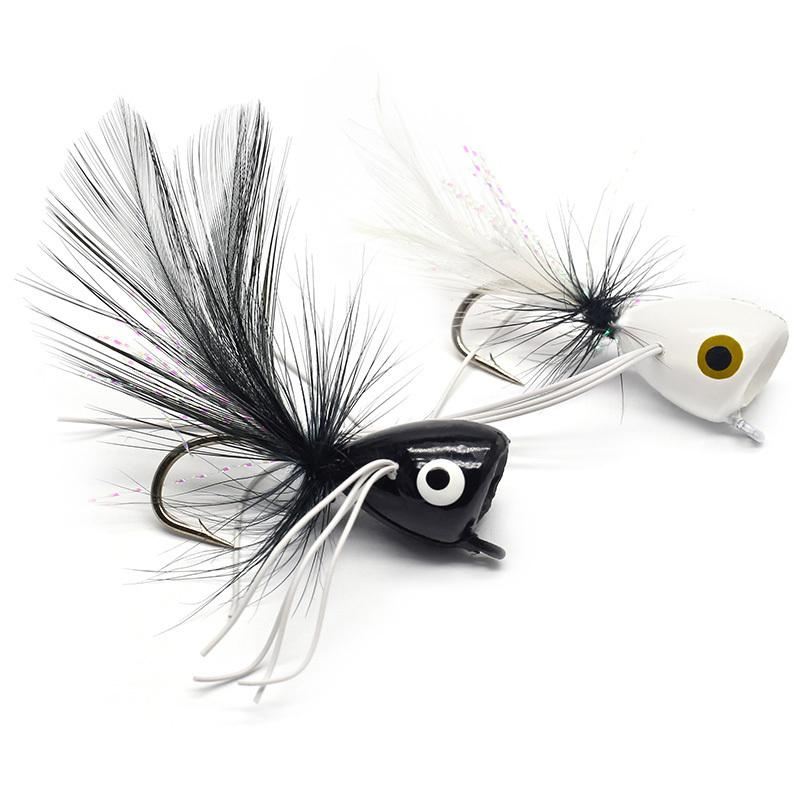 Yazhida Fly Popper Fishing Lure 10pcs Cebo flotante para Bass Trout Pike Pape Papish YZD-Fly Popper Freshwater Bait 201031