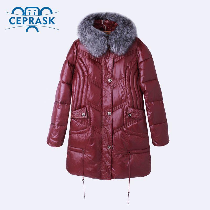 delle donne Ceprask inverno di alta qualità Down Jacket Plus Size X-lungo femminile cappotti di moda pelliccia calda Parka Camperas 4XL 5XL 6XL 201022