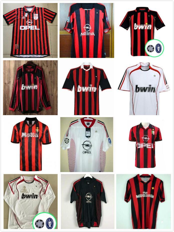 90 91 T-shirts rétro Accueil 96 97 Gullit Soccer Jersey 01 02 03 Maldini Van Basten Football Ronaldo Kaka Inzaghi 06 07 AC Milan 2009