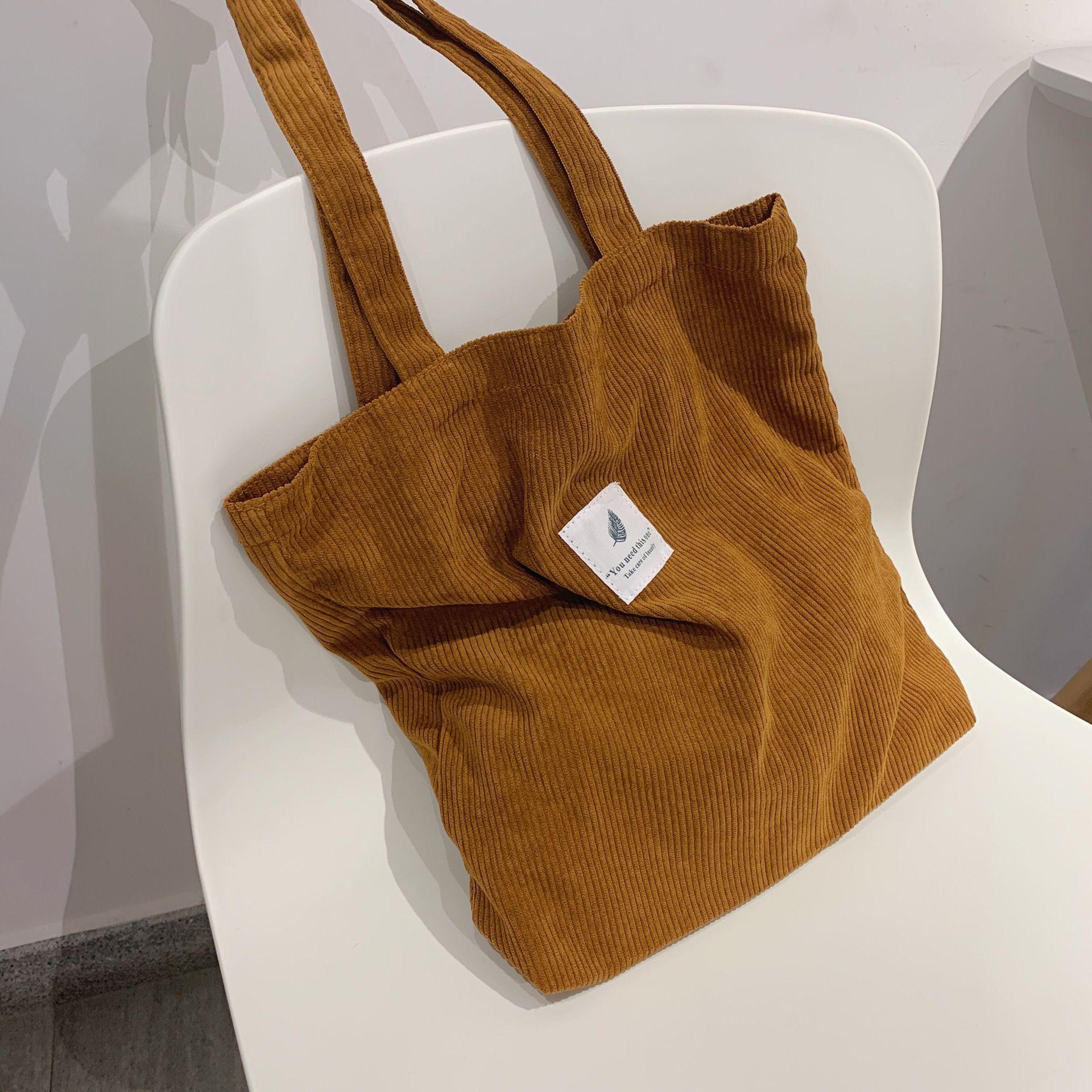 Сумки HBP для женщин 2021 Corduroy Сумка на плечо Многоразовая сумка для многоразовых сумки повседневные Tote женская сумочка для определенного количества брошенного коричневого цвета