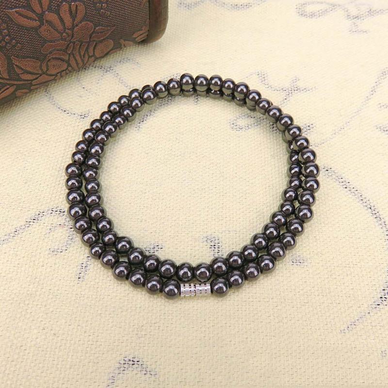 Black 6mm perline magnetiche perline ematite collana magnetoterapia sanitaria sanitaria lodestone rosario collana uomo gioielli1