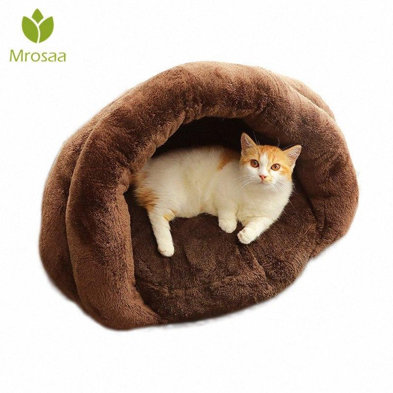 Warm Cat Sleeping Bags Pet Beds Half Cover Winter Warm Padded Nest Kitty House Cats Bed Cushion Nest Kennel Pets Supplies kPIO#