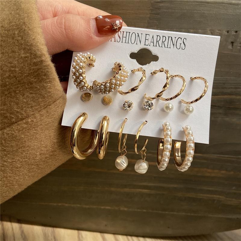 Мода Gold Hoop Серьги Набор Женщин Жемчужина Серьги Hoop Bearibed Металлический Круг Панк Серьги 2021 Женская Мода Ювелирные Изделия