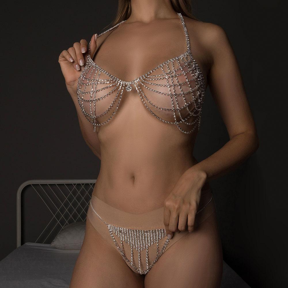 Vücut Zincir Dalga Çok Katmanlı Rhinestone Bikini Takım Moda Gece Kulübü Aksesuarları Mayo Bandaj Mayo Seksi Pad