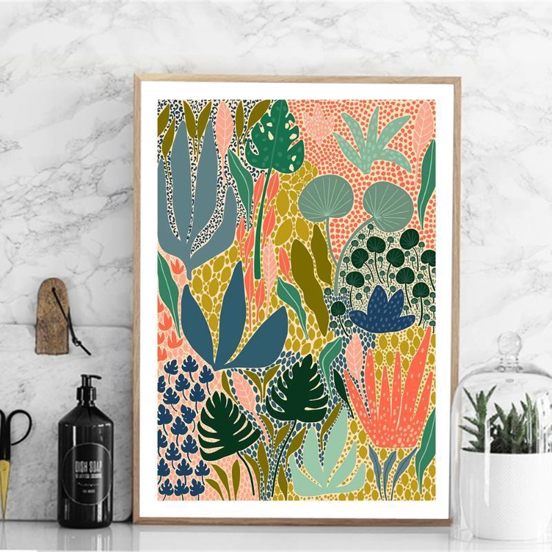 Moderne Abstrakt: Bunt Gartenpflanzen Wand-Kunst-Leinwand-Malerei Bild Poster und Drucke Galerie Aisle einzigartige Wohnkultur