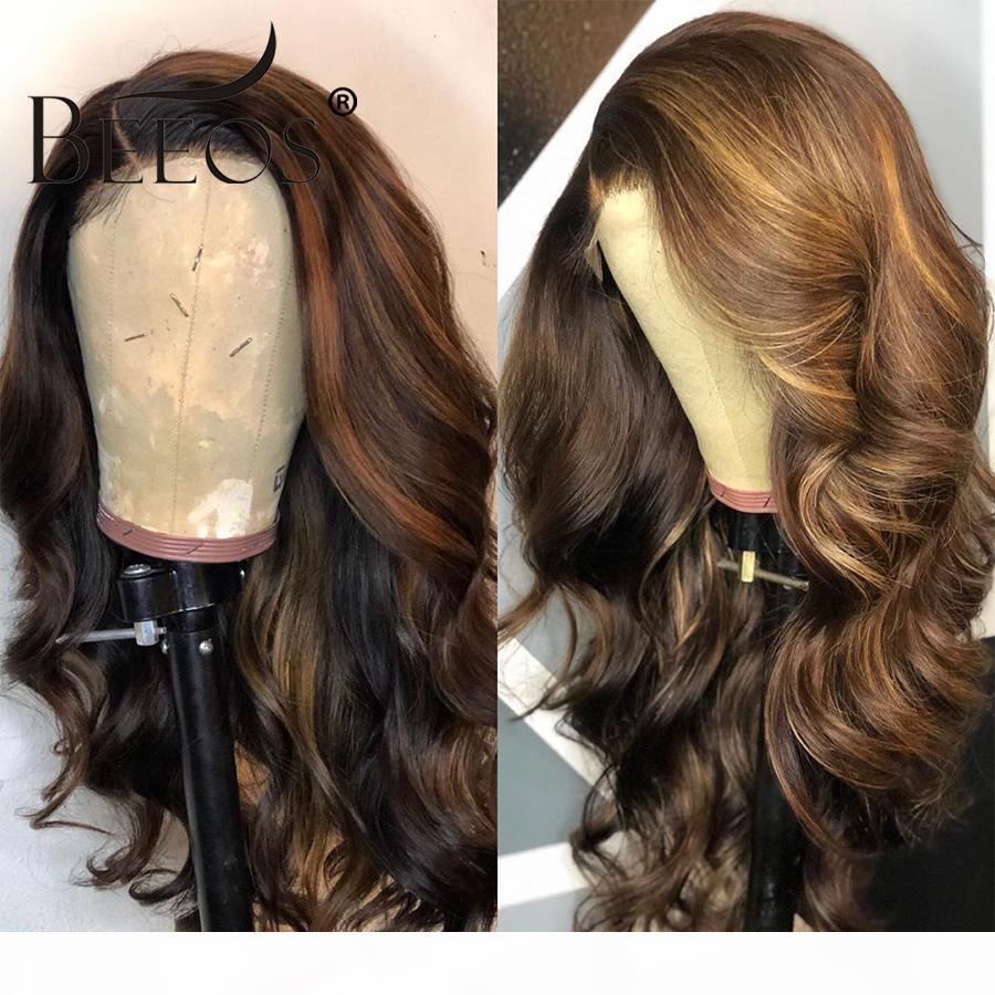 Brezilyalı Remy saç 360 Dantel Ön İnsan Saç Peruk Dalgalı Ombre Sarışın zirveler Renk% 180 Yoğunluk Öncesi Mızraplı ağartılmış Knots