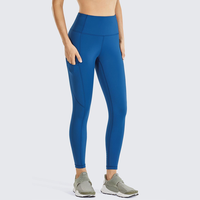 Sensation nue des femmes à hautes pantalons d'entraînement à taille haute Tummy Control Leggings avec poches-23 pouces x1227