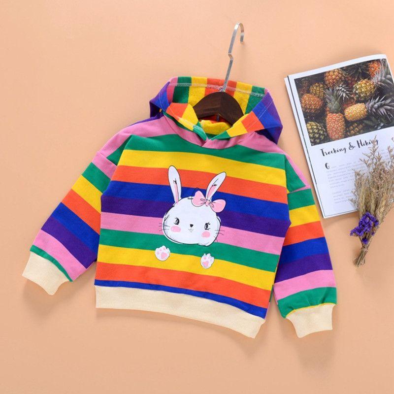 дети одежды Девочек Hoodies Толстовка весна осень Детской одежды Детские Радуга толстовка мода Толстовка Радуга нашивка толстовка