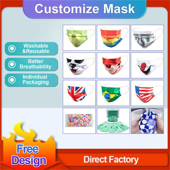 Пользовательские логотипы маски лицевые маски моды дизайнеры взрослые велосипедные открытый анти пыль ветрозащитная вечеринка маска моющаяся многоразовая вечеринка унисекс маска