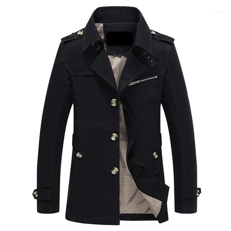 Jaquetas masculinas e jaqueta de outono homens moda casual casaco de algodão preto cáqui do exército verde outerwear