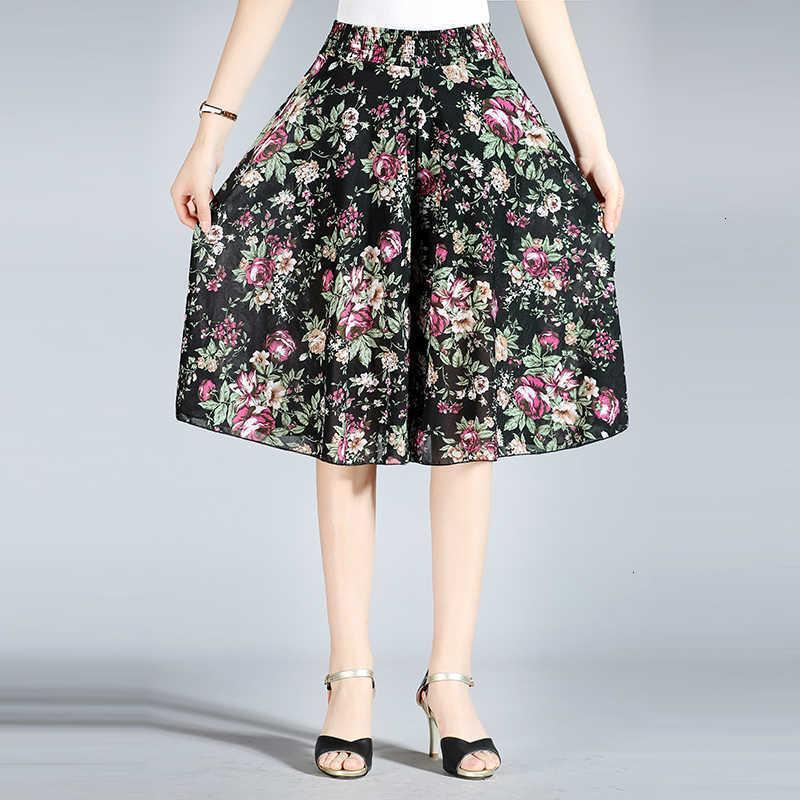 Kadınlar Casual Gevşek Yaz Şifon Elastik Geniş Bacak Diz Boyu Etek Kadın Lady Yüksek Bel Orta Çağı Anne Pantolon