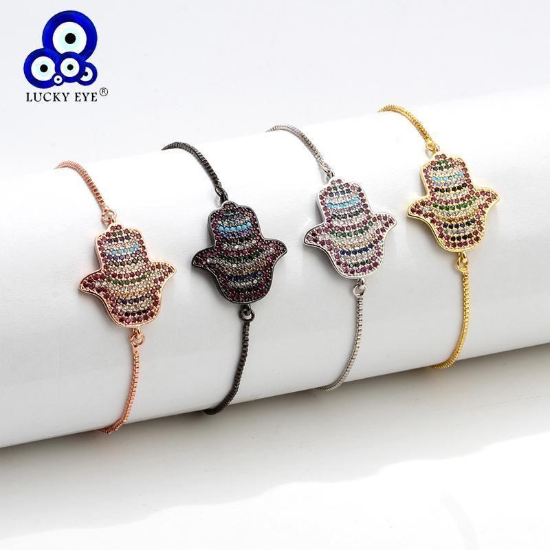 Lucky Eye Hamsa pulsera rosa oro plateado Cadena de color encanto ajustable pulsera micro pave joyería para mujeres hembra ey63121