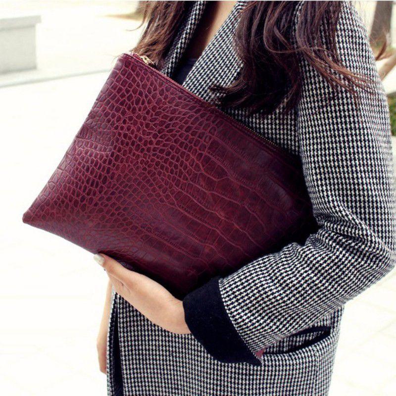 브랜드 품질 가방 여성의 날 클러치 악어 악어 가죽 가방 봉투 가방 여성 클러치 가방 여성 핸드백 Bolsas 8 색