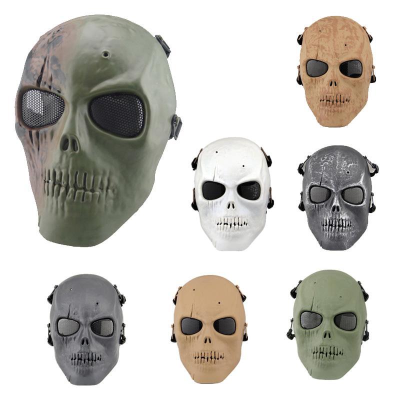 Attrezzatura sportiva sparatoria all'aperto Protezione del fronte Airsoft Gear Gear Full Face Tactical Airsoft Horror Gost Skull Mask P03-100
