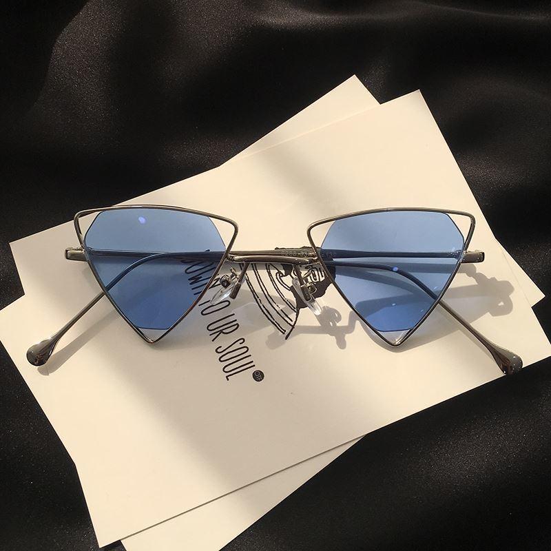 Speciale triangolo prezzo vento Donne ins di hip hop piccola faccia coreano rete occhiali da sole rossi