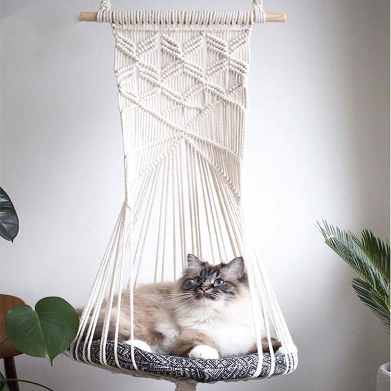 Hamac de chat tissé à la main Four Seasons Universal Cat Traking Panier Panier Swing Accessoires Swing Tapis de nuit
