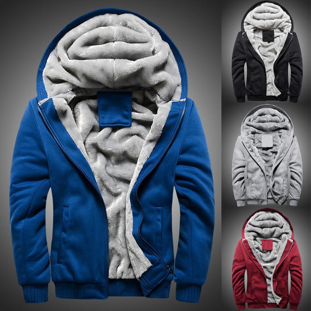 2020 Mode d'hiver épais Sweat-shirt à capuche Homme etalon chaud Hommes Hoodie hiver chaud Toison Zipper Outwear manteau # G30