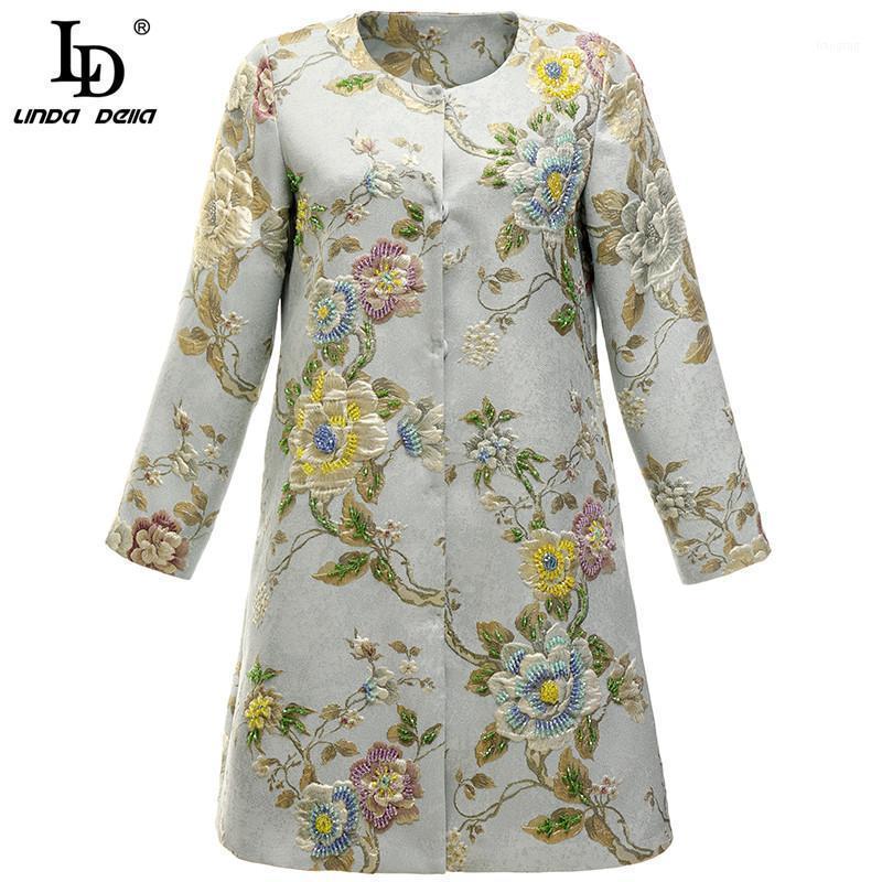 Ld linda della moda pista di moda estate jacquard vestito corto donne 3/4 manica o-collo lusso bordatura signore vintage mini dress1