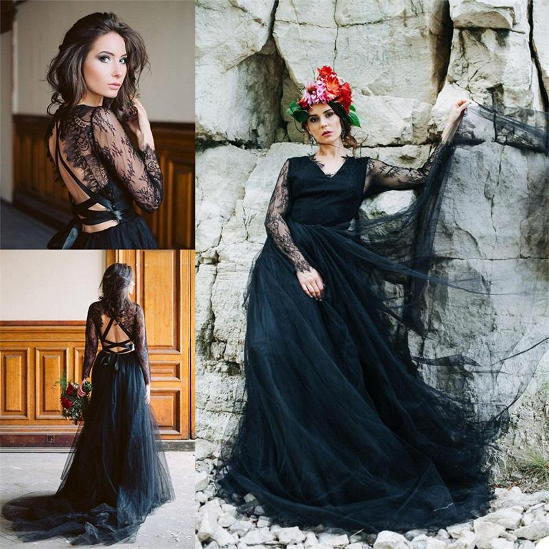 Real Image Black Evening Dresses Long Sleeves Lace Up Applique Custom Made Prom Dresses Sweep Train Formal A Line Party Dress