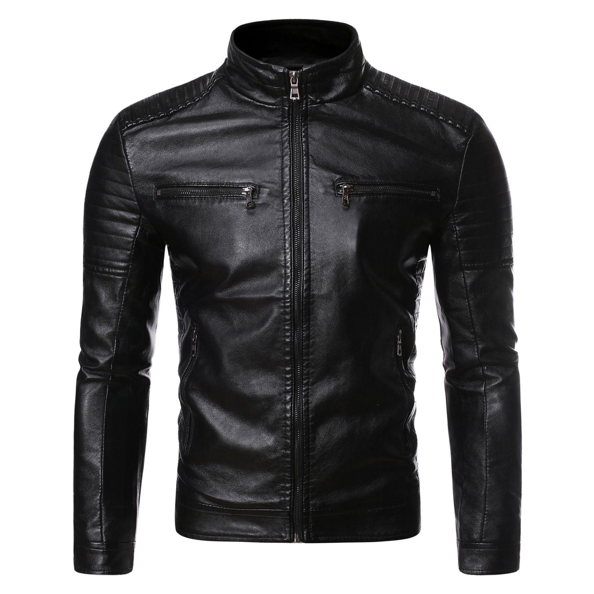 Negizber Kış Deri Ceket Erkekler Katı Slim Fit Erkek Ceket Ve Ceketler Kalın Polar Yün Ceket Erkekler Sıcak Dış Giyim Mont