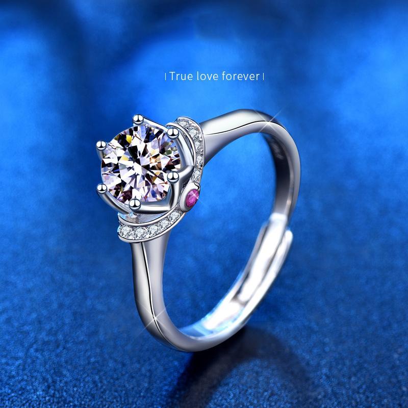 Роскошные моды свадебные обручальные годовщины кольца 1 карта 2 карта D цвет моасанит кольцо бриллиантовое кольцо