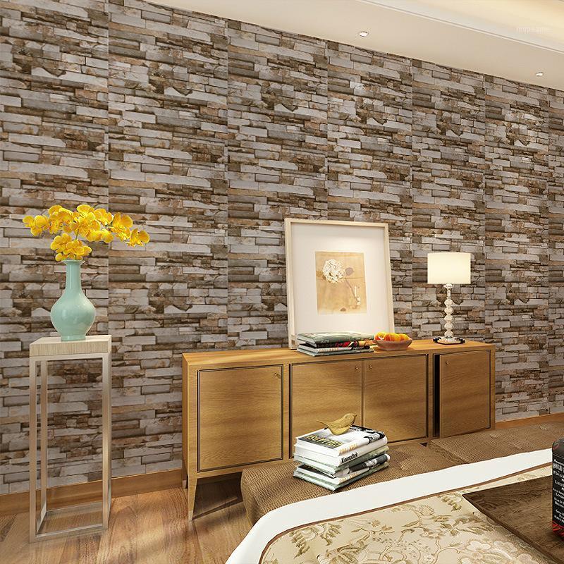 Großhandel - Badezimmer Tapete PVC selbstklebende Walzen Vintage Wasserdichte Wandpapier Wohnkultur Wohnzimmer Küche Wände Wandbilder1