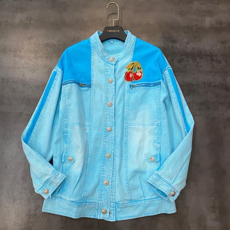 2020 e nova primavera verão lychee bordar design para lavar azul fantasma água cor denim jaqueta feminina 9fu9