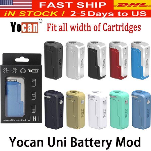 Yocan UNI Box Mod 650mAh 10s vorheizen VV Variable Volta Einstellbare Höhe Durchmesser Halter Fit Alle Atomizer 10 Farbe PK Vmod Palm