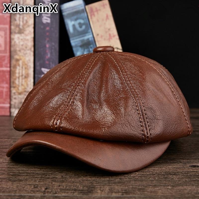 Xdanqinx натуральная кожаная шляпа осени мужская кожа кожа кожа посылки элегантная мода молодой студент колпачок языка Cap Snapback Caps для мужчин Y200110