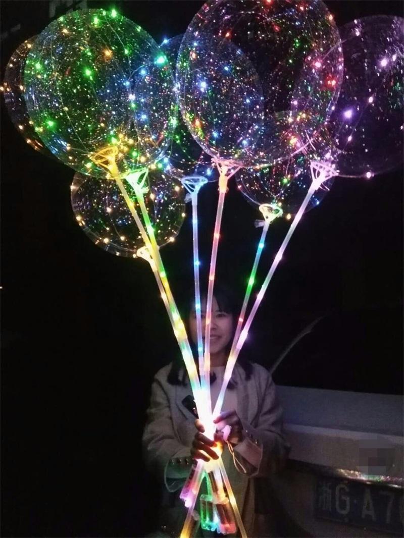 Mode Lumineszenz-LED-Lampe-Ballon-Mehrfarbenleuchte 20,5 Zoll Transparent Luft-Ballone 70cm Griff Pole Party Supplies 2 39jx L2