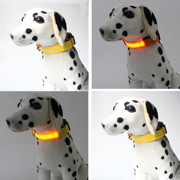 6Colors 4Sizes Night Safety LED Light Flashing Glow Nylon Pet Dog Collar Small Medium Dog Pet Leash Dog Collar Flashing Safety Collar