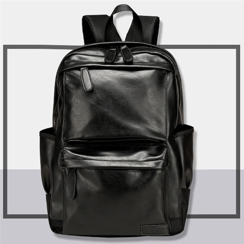 Unisex Business Backpackl Backpacks Travel Black Pu Leather Men's Fashion Shoulder Bags Teenage Backpack Men Casual Bag Q0112